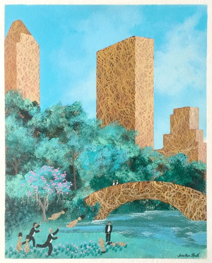 """The Pasta Dwarfs descend upon New York City for the annual Black Tie Pasta Dwarf Tossing Contest in Old Central Park near the Spaghetti alla Carbonara Bridge adjacent to the Central Park Zoo and surrounded by the only three remaining land marked Pasta Skyscrapers of the renowned Big Apple's Skyline"" Acrylic on board, 20 x 16 inches, Signed 