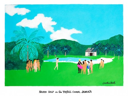 """Naked Golf on the Tryall Course, Jamaica"" Acrylic on panel, 17 x 23 inches, Inscribed & Signed"