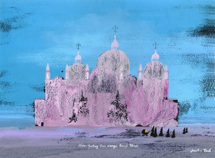 """Nuns pushing their oranges through Venice"" Acrylic on panel, 12 x 16 inches, Signed & Inscribed 