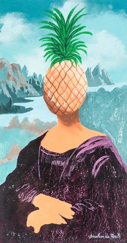 """Pineapple Head Mona Lisa 2"" Acrylic on panel, 28.5 x 15 inches, Signed lower right"