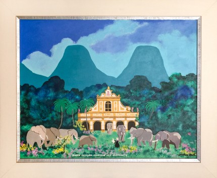 """Queen Victoria Counting Her Elephants"" Acrylic on panel, 20 x 25 inches, Signed lower right"