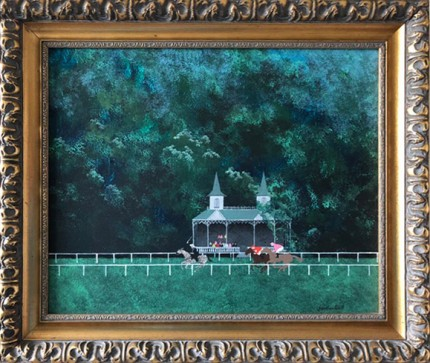 """Queen Victoria Racing Her Zebra"" Acrylic on panel, 17 x 20 inches, Signed lower right"