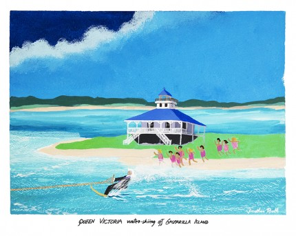 """Queen Victoria water-skiing off Gasparilla Island"" Acrylic on panel, 17 x 22 inches, 20 x 24 inches, Signed lower right"