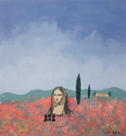 """The Nuns Go To Tuscany to visit da Vinci's Original Mona Lisa"" Acrylic on panel, 17 x 16 inches, Signed & Dated '89 
