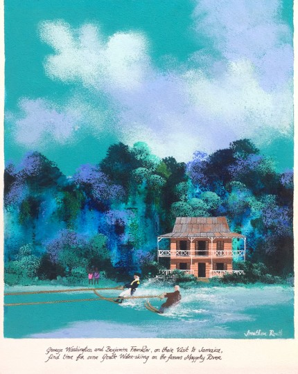 """George Washington and Benjamin Franklin, on their Visit to Jamaica, find time for some Gentle Water-skiing on the famous Maggotty River"" Acrylic on board, 17.5 x 13.5 inches, Signed & Inscribed 