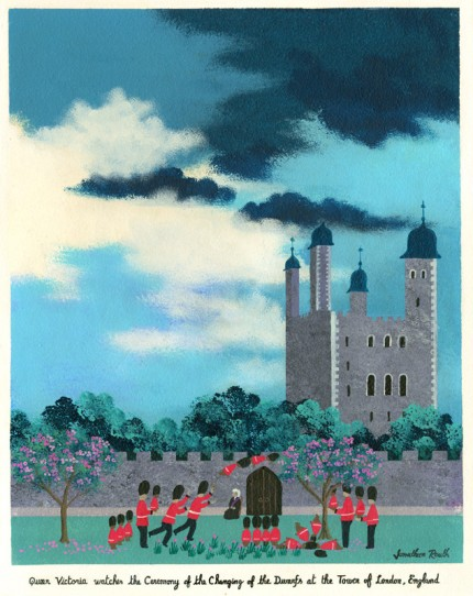 """Queen Victoria watches the Ceremony of the Changing of the Dwarfs at the Tower of London, England"" Acrylic on panel, 22 x 18 inches, Signed & Inscribed 