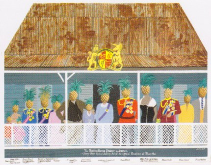 """The British ROyal Family In Jamaica - Doing their Famous Balcony Act at the Official Residence at Round Hill"" Fine Art Limited Edition, 24 x 30 inches, Signed, Stamped with the seal of The Jonathan Routh Collection"