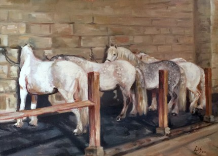 """The Queens Highland Ponies at Balmoral"" Oil on canvas, 20 x 28 inches, Signed lower right"