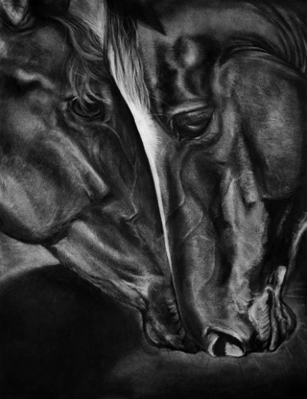 """Eclipse"" charcoal on paper, 18 x 24 inches, 2008, SOLD"