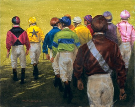 """Ten Jockeys Walking Out"" 2010, Oil on canvas, 21 ½ x 25 inches, Signed lower left, Collection of Ralph Lauren"