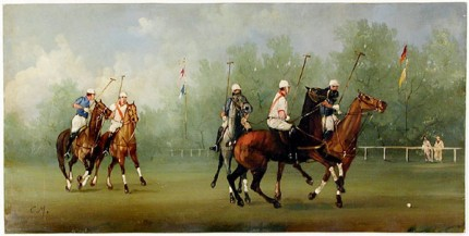 """Polo Scene VIII"" Edwardian Polo Scenes (circa 1984) Oil on copper, 8 x 15 ¾ inches, 22k gold leaf frame with brown crackle sides: 10 ½ x 18 inches"