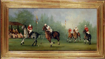 """Polo Scene III"" Edwardian Polo Scenes (c. 1984) Oil on copper, 8 x 15.75 inches, 22k gold leaf frame with brown crackle sides: 10.5 x 18 inches, Signed"
