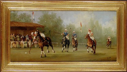 Polo Scene IV, Polo Scenes (circa 1984), Oil on copper, Image size: 8 x 15 3/4 inches, 22k gold leaf frame with brown crackle sides, Frame size: 10 1/2 x 18 inches.