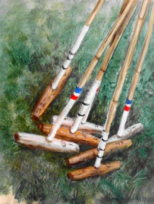 """#23 Polo Mallets"" 2001, Oil on canvas, 13 x 9 1/2 inches, Framed: 22 x 18 1/2 inches, Signed"
