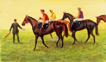 """#31 Lining Up"" 2008, Oil on canvas, 10 3/8 x 18 1/4 inches, Framed: 16 x 23 inches, Signed"