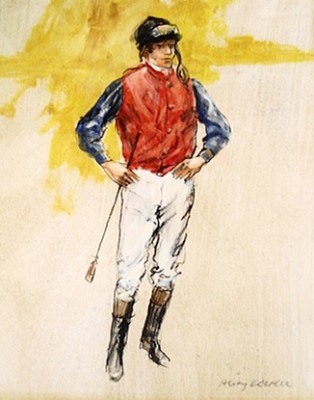 """Jockey in the Prince of Wales Colours"" 2009, Oil on canvas, 9 ¾ x 7 ¾ inches, Framed ~ 17 ½ x 15 ½ inches, Signed lower right"