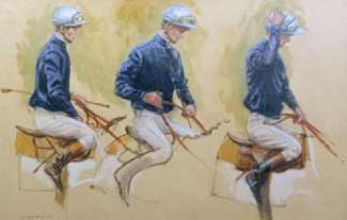 """Three Jockey Studies (Blue)"" 1987, Oil on canvas, 25 ½ x 39 ½ inches, Signed lower left"