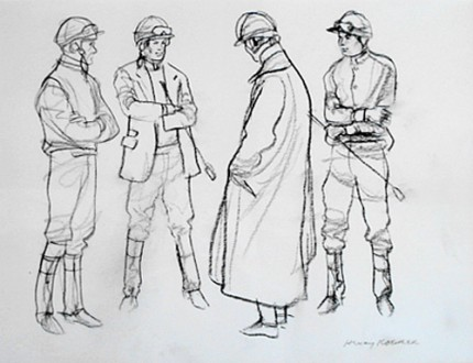 """Steeple Chase Jockeys"" 2002, Charcoal on paper, 8 ¾ x 11 ¼ inches, Framed ~ 17 x 18 ½ inches, Signed lower right"