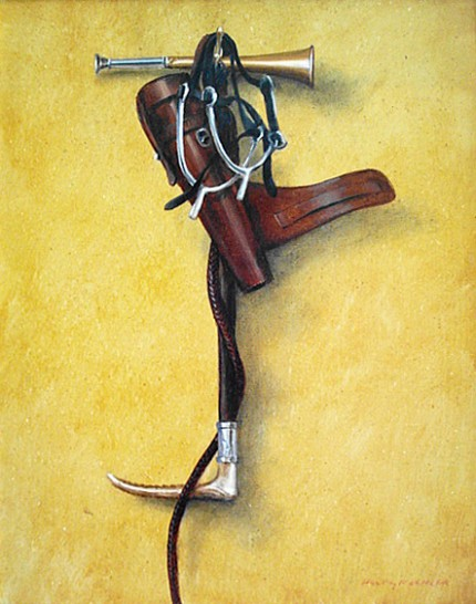 """#5 Hunting it on a Hook"" 2006, Oil on canvas, 17 1/4 x 13 3/8 inches, Framed: 21 x 17 inches, Signed"