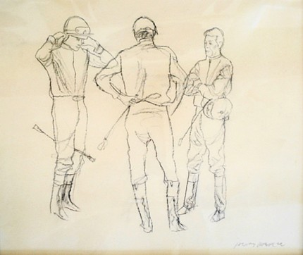 """Three Jump Jockeys"" 2003, Charcoal on paper, 10 ⅜ x 12 ½ inches, Framed ~ 18 x 20 inches, Signed lower right"