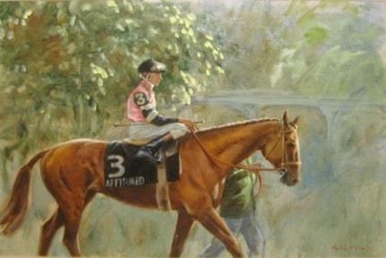 """Affirmed, Steve Cauthen, Up, In the Paddock, before the Belmont Stakes Harbor View Farm (Louis Wolfson)"" 1978, Oil on canvas, 18 x 24 inches, Signed lower right, Stamped: Ackerman & Sons, indicating ""Original Oil"""