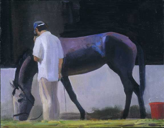 """""""Groom on a Break"""" Oil on linen mounted on panel, 11 x 14.5 inches, Signed bottom right"""