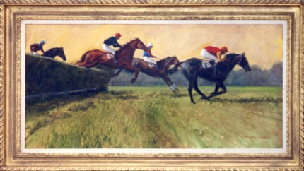 """Fontwell Chasers"" 1973, Oil on canvas, 18 x 36 inches, Signed"