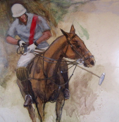 """Polo Oil on Paper II"" 18 x 23 inches, Framed: 25 x 30 inches, SIgned"