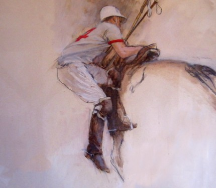 """Polo I"" Oil on paper, 18 x 23 inches, Framed ~ 25 x 30 inches, Signed"