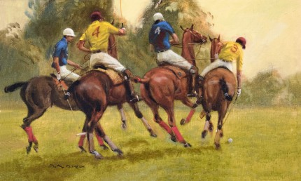 """""""Polo Skirmish"""" Oil on canvas, 12 x 20 inches, Signed"""