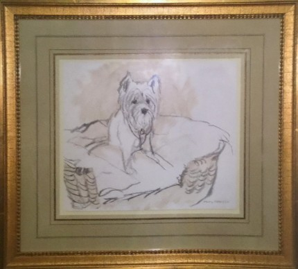 """A Westie in a Basket"" 2003, Charcoal & Oil on paper, 10 x 11.5 inches, 18 x 19.5 inches, Signed lower right, Rare & Scarce"