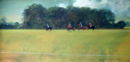 """Polo at Cirencester Park"" 1973, Oil on canvas, 15 x 30 inches, Signed"