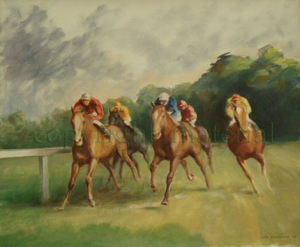 """Round the Turn"" Oil on canvas, 21 x 25.5 inches, Signed & Dated lower right: John Skeaping 75"