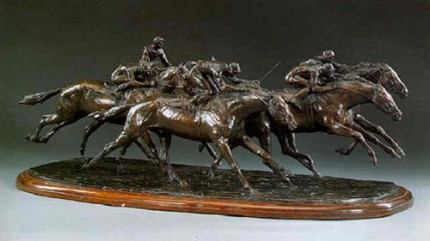"""A Group of Five Race Horses"" Bronze with brown patina, 26 x 9 x 7 inches, Signed"