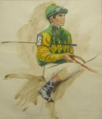 """Lafit Picay, Up (Colors of Sigmund Sommer)"" Charcoal & Oil on paper, 26 x 31.5 inches, Signed, Stamped: Arthur Ackerman 1980"