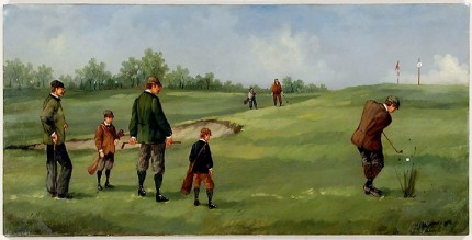 """Edwardian Golf III"" (circa 1990) Oil on copper, 8 x 15 ½ inches (including text), 22k gold leaf frame with brown crackle panel: 10 ½ x 18 inches"