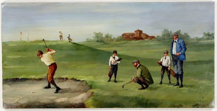 """Edwardian Golf IV"" (circa 1990) Oil on copper, 8 x 15 ½ inches (including text), 22k gold leaf frame with brown crackle panel: 10 ½ x 18 inches"
