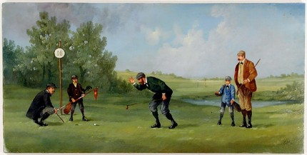 """Edwardian Golf V"" (circa 1990) Oil on copper, 8 x 15 ½ inches (including text), 22k gold leaf frame with brown crackle panel: 10 ½ x 18 inches"