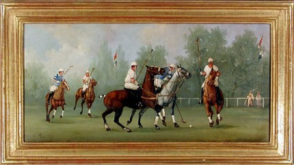 """Polo Scene II"" Edwardian Polo Scenes (c. 1984) Oil on copper, 8 x 15.75 inches, 22k gold leaf frame with brown crackle sides: 10.5 x 18 inches, Signed"