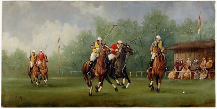 """Polo Scene VI"" Edwardian Polo Scenes (c. 1984) Oil on copper, 8 x 15.75 inches, 22k gold leaf frame with brown crackle sides: 10.5 x 18 inches, Signed"