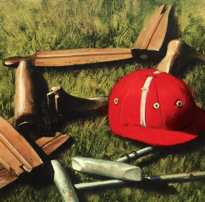 """Polo Still Life"" 1991, Oil on canvas, 15 x 24 inches, Signed and dated, Collection of Ralph Lauren"