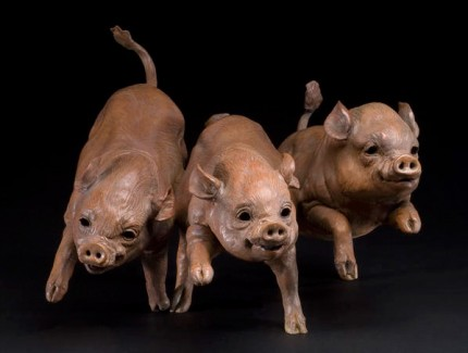 """""""Petal's Piglets"""" Bronze, 10 x 18 x 14 inches, Signed"""