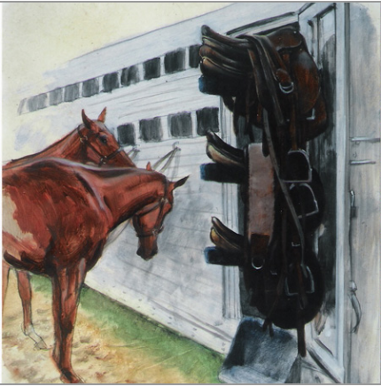 """Polo Saddles"" 2000, Oil on paper, 20 x 16 inches, Signed and dated"