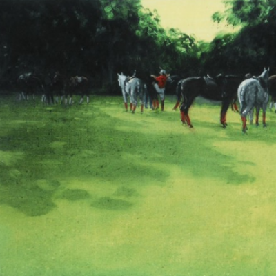 """Changing Ponies"" 2001, Oil on canvas, 12 x 20 inches, Signed and dated"
