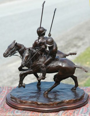 """Polo Ride Off 3"" Bronze, 11.75 x 13 x 11 inches, Base: 11.75 x 8.25 inches, Signed & Numbered"