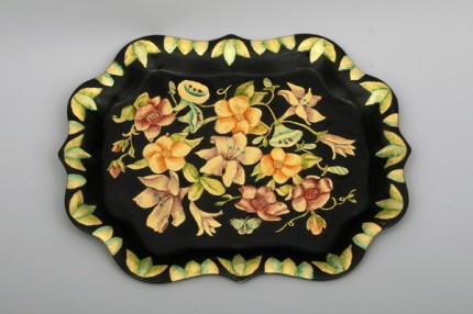 Multi-colored Flowers, Flowers executed in gold leaf with oil shading, 15 x 19 inches