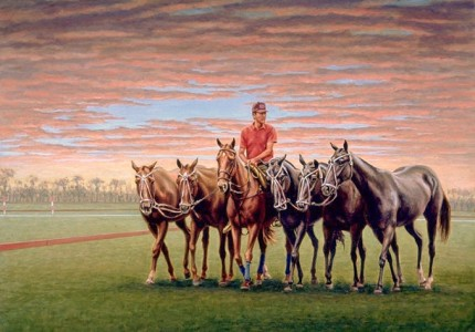 """Polo Pony Mornings"" Oil on canvas, 22 x 30 inches, Signed"