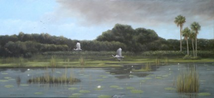 """Everglades Get-Together"" 2009, Oil on canvas, 30 x 60 inches, Signed lower left"