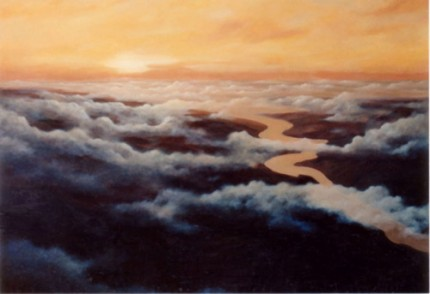 """Late Afternoon Flight"" Oil on canvas, 40 x 60 inches, Signed lower left"