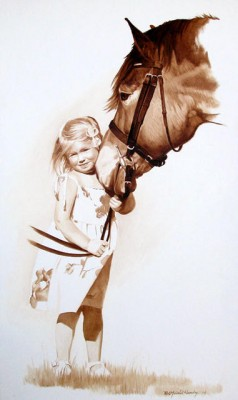 """Elise with Horse"" One color oil paint drawing on canvas, 36 x 20 inches, Signed lower right"